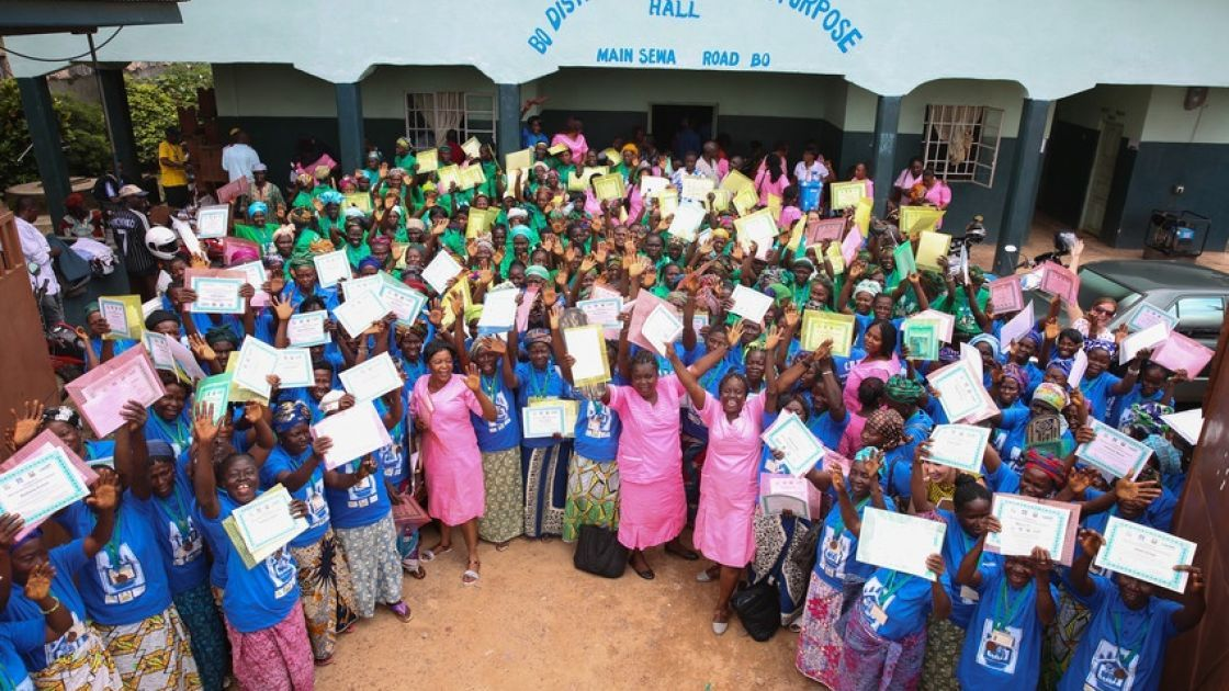 A ceremony to mark the transition of the Essential Newborn Care Corps, which was established in the Bo district of Sierra Leone by Concern Worldwide under the Innovations for Maternal, Newborn, and Child Health initiative. Photo: Kieran McConville/Concern Worldwide.