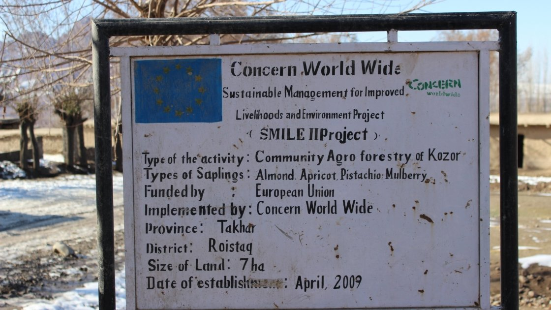 Through the Sustainable Management for Improved Livelihoods and Environment Project (SMILE) project, the people of Kozur in north-east Afghanistan, have worked with Concern to develop a community forest of almond, apricot, pistachio and mulberry trees. Photo: Concern Worldwide.
