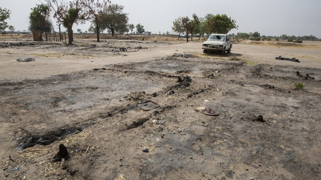 Burnt out NGO compounds at Touch Riak in Unity State, South Sudan. Photo: Kieran McConville / Concern Worldwide