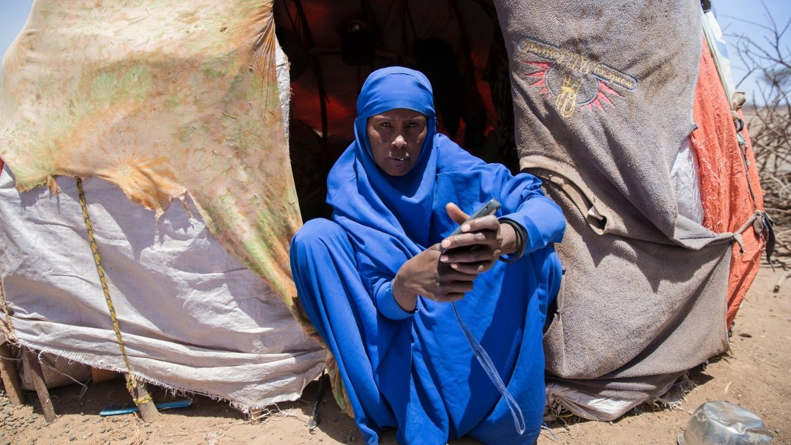 Safia Shugri, mother of seven, at her shelter in Somaliland. Photo: Kieran McConville/Concern Worldwide.