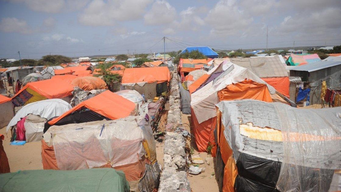 Makeshift houses in an IDP camp in Somalia. Photo: Mohamed Abdiwahab / Concern Worldwide