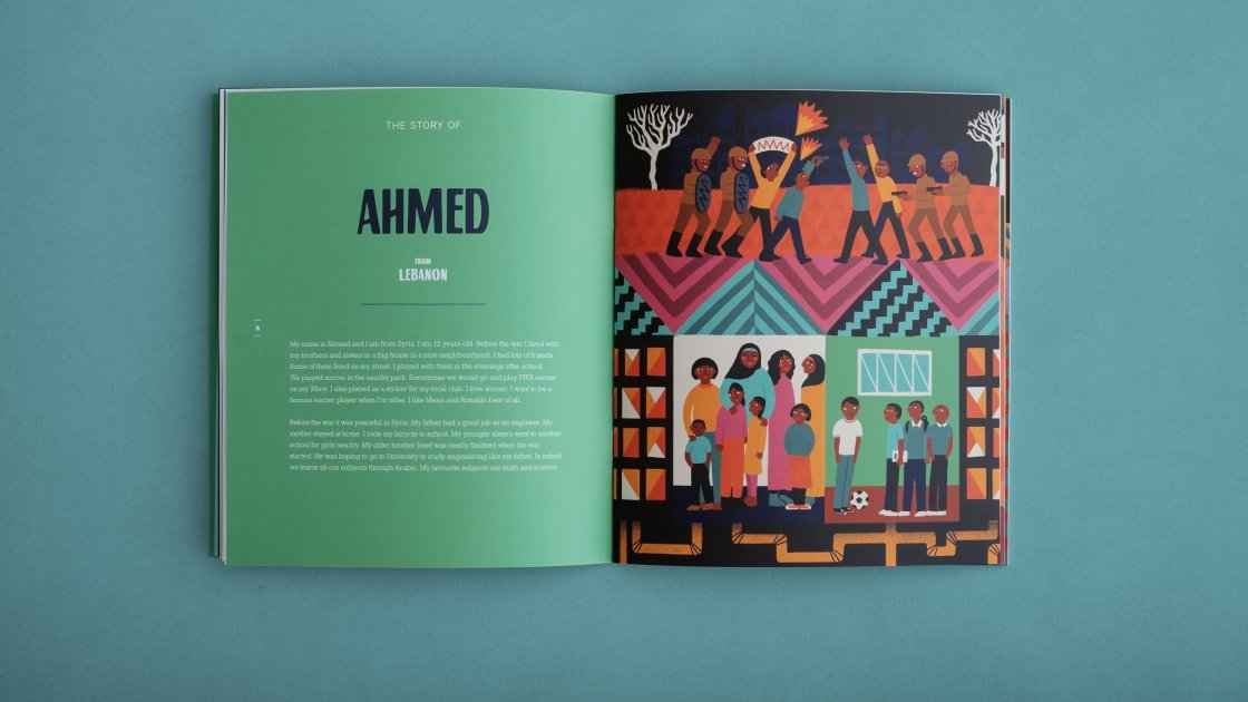 Someone Like Me features the story of Ahmed, a Syrian refugee living in Turkey. The book was written by Fionnagh Nally. Photo: Finn Richards/Concern Worldwide.