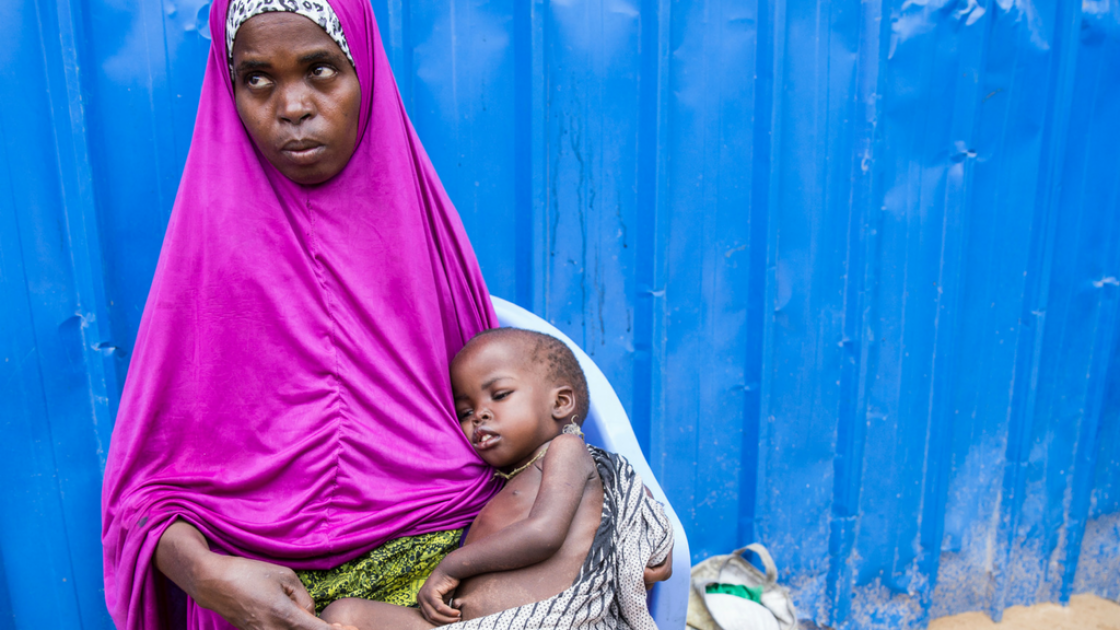 Ayaan* (28) with her three year old son, Aadan*, at Concern Worldwide's nutrition centre in Mogadishu, Somalia. Photo: Kieran McConville, March 2017.