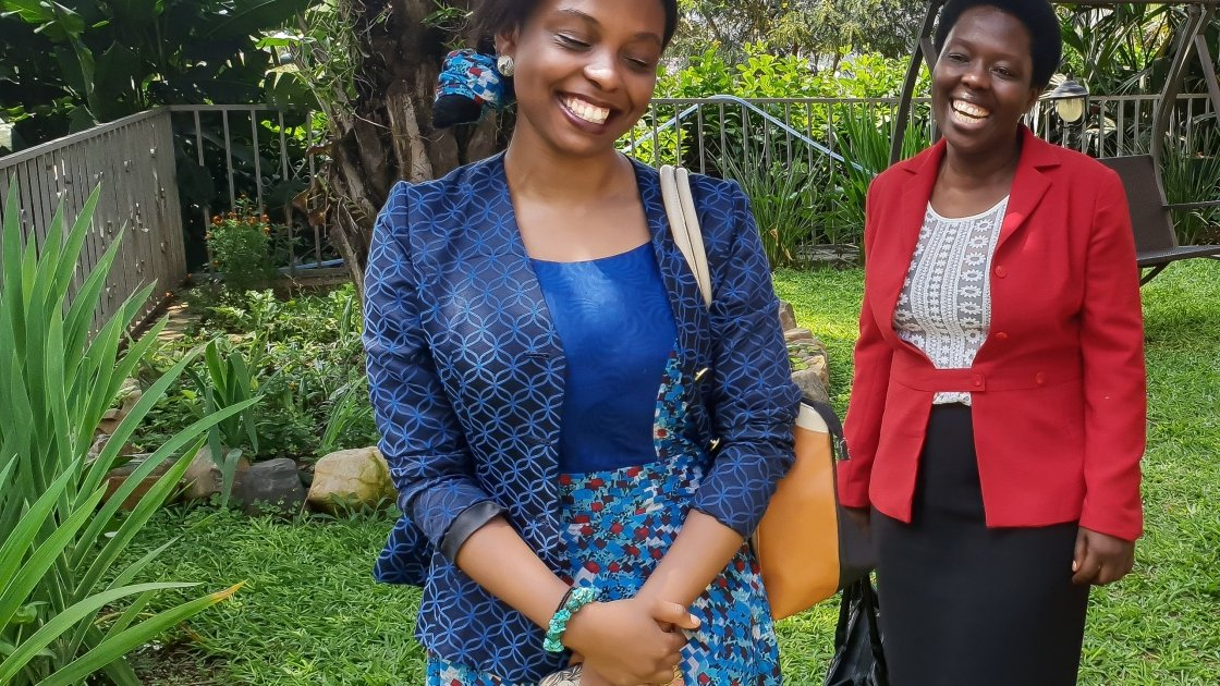 Aline Joyce Berabose and her mother, Marie Ange in Kigali, March 2018. Photo: Marie Madden/Concern Worldwide.