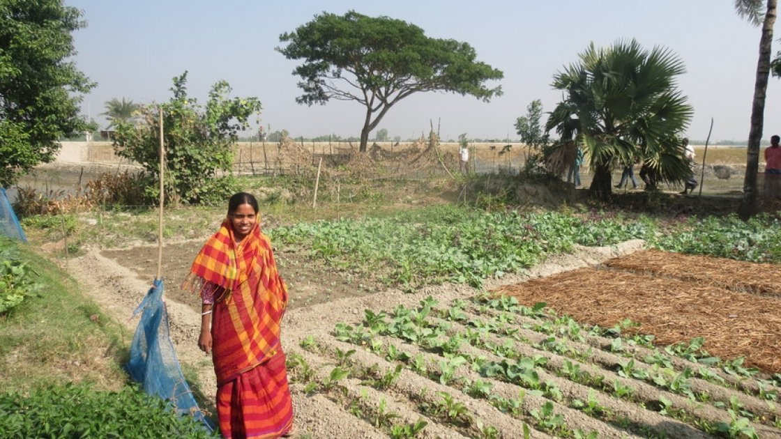 Varoti Rani stands in front of her vegetable plot. Through the costal resilience programme, she has received seeds and she is learning new techniques to help her grow a range of nutritious crops in Khulna, Bangladesh Photo: Hee Young Park /Concern Worldwide, December 2016