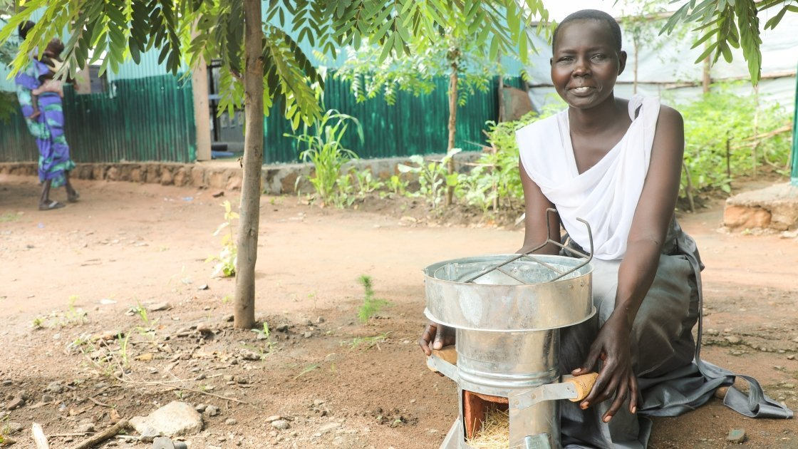 Abamoltho Gdra is part of the Concern Worldwide supplementary feeding programme in Gambella, Ethiopia. She received an Eco stove as a gift from Concern to help her cook nutritious meals for her family, Ethiopia, 2017. Photo: Jennifer Nolan / Concern Worldwide.