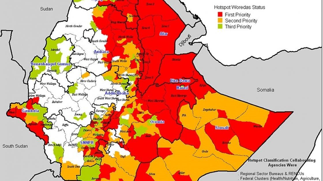 Ethiopia: Prioritization of Emergency Relief Beneficiary Woredas. Credit: Government of Ethiopia.