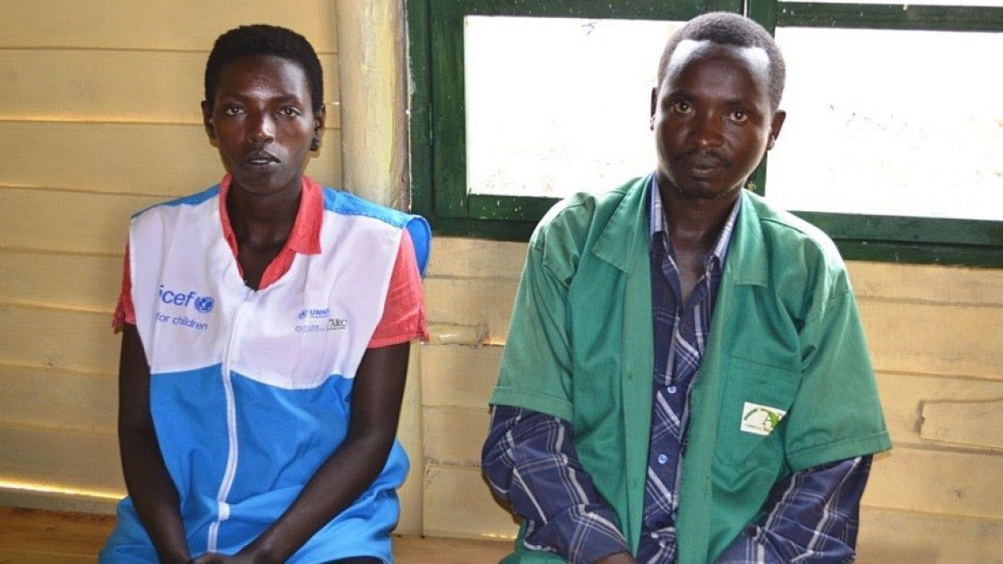 Godance Nishemezwe (left) and Bucyumi Louis (right) at the Concern Worldwide Offices in the Mahama refugee Camp for Burundians in Kirehe district, Rwanda. Photo taken by Donna Ajamboakaliza / Concern Worldwide.