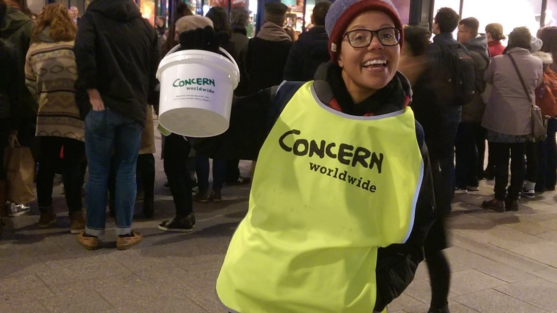 Christina Meehan, a Concern fundraising executive from Swords, was also out shaking her bucket for FAST. Photo: Concern Worldwide.