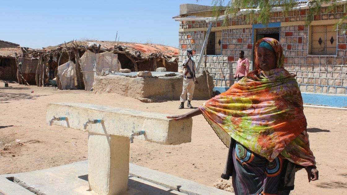 Roda Mussa Mohamed pictured at the newly installed water point in Geedabeera village in Somaliland. Photo: Concern Worldwide.