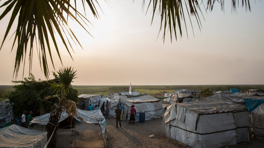 A mobile nutrition center on one of the islands in Leer County, where people are hiding from the conflict. Photo: Kieran McConville / Concern Worldwide