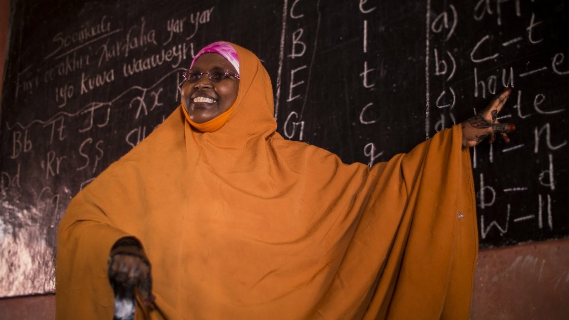 Rugiyo Mahamed Guhaad, a teacher at Jabuti school in Mogadishu. Concern Worldwide supports the school. Photo by Kieran McConville