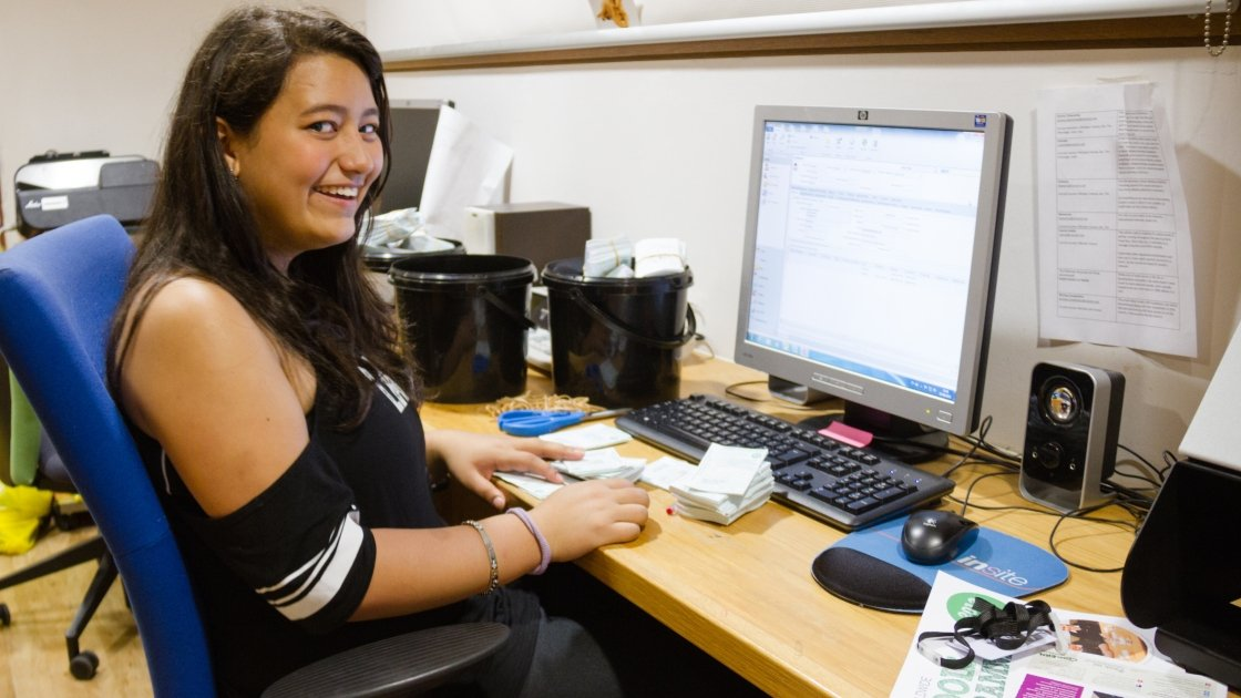 Jacky during her work experience in the Concern offices in Dublin. Photo taken by Kevin Carroll/Concern Worldwide.