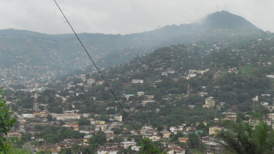 This photo taken in 2014 shows the scale of housing development around the hills of Freetown, Sierra Leone. Photo by Kai Matturi, Concern Worldwide.