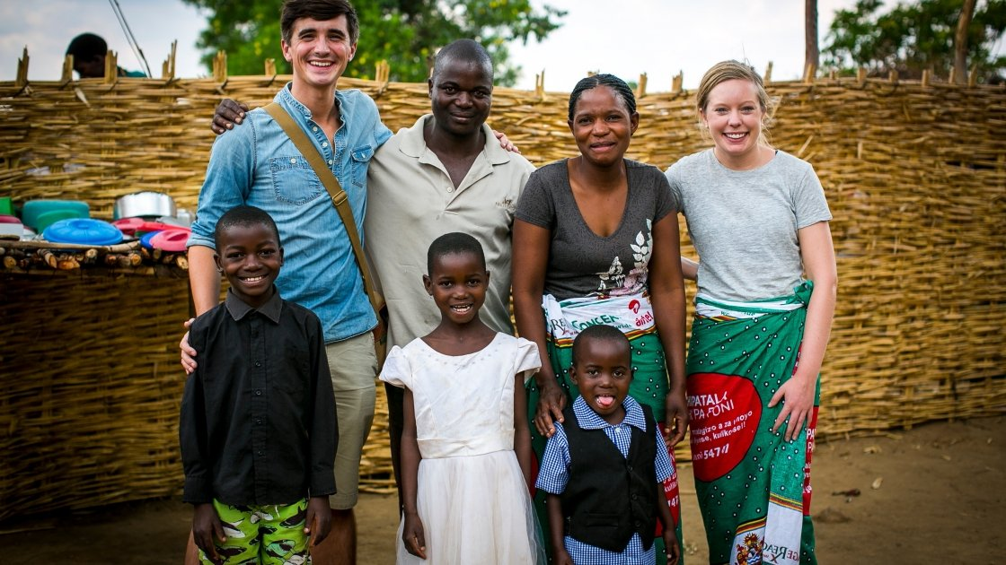 Donal and Sofie Skehan with Monica Jordan and family from Kaigwazanga in Malawi. Photo: Jennifer Nolan/Concern Worldwide.