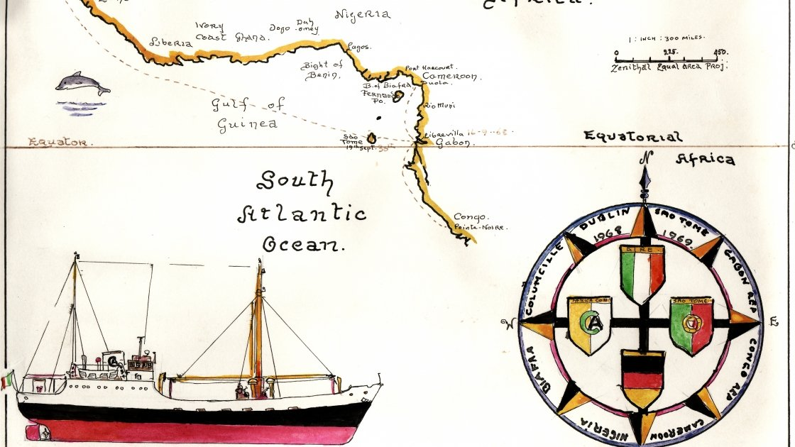 Part of a sketch by Tony O'Moore, crew member of Concern's ship, the M.V Columcille. The skettch charts the journey of the ship from Dublin to the west coast of Africa, delivering aid to people in Biafra.