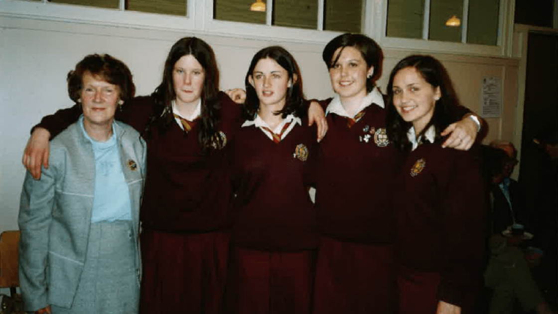 Concern debating team of 2001/2002. Left to right: Mary Anne Fogarty, Aine Rourke, Nora Delaney, Leonie O'Connell, Kara Vaughan. Photo provided by: Mary Anne Fogarty.