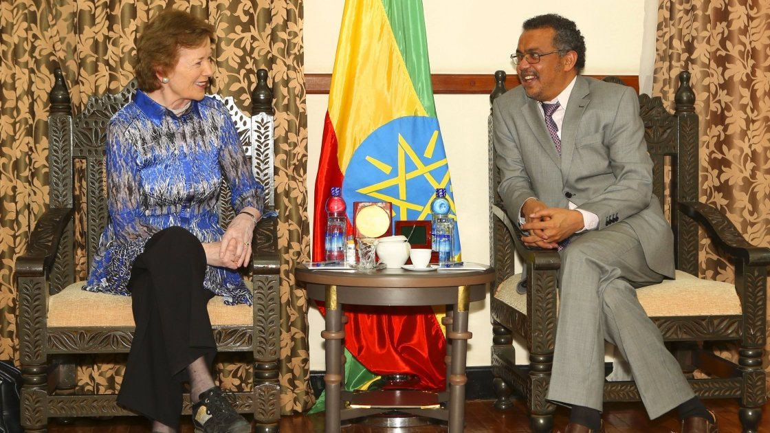 Mary Robinson meets Minister of Foreign Affairs Dr. Tedros Adhanom. Photo: Liam Burke.