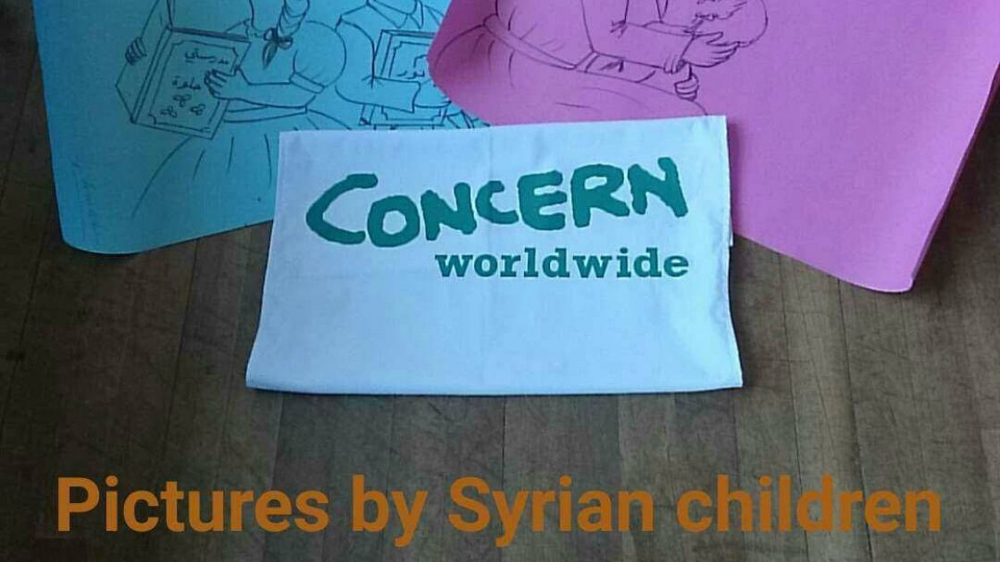 Concern Snapchat image of drawings by Syrian children for children from St. Treasa's in Mount Merrion who raised €4000 for Concern's work.
