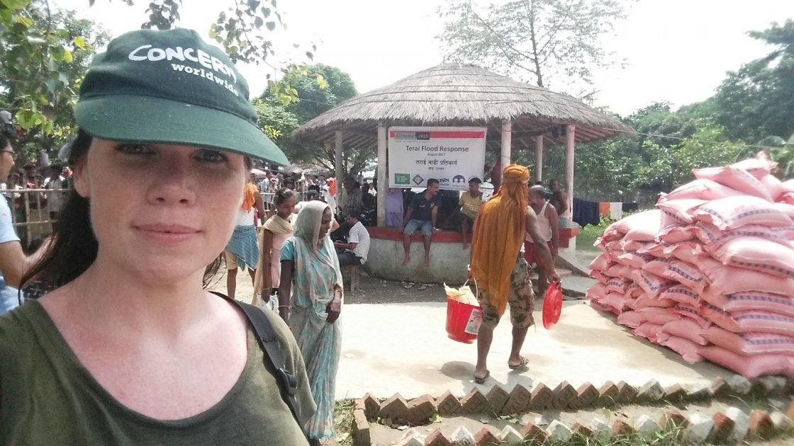 Concern Worldwide's Country Director in Nepal, Eileen Morrow, at a food distribution after flooding in Rautahat, Nepal. Photo by: Daniel Coyle / People in Need.