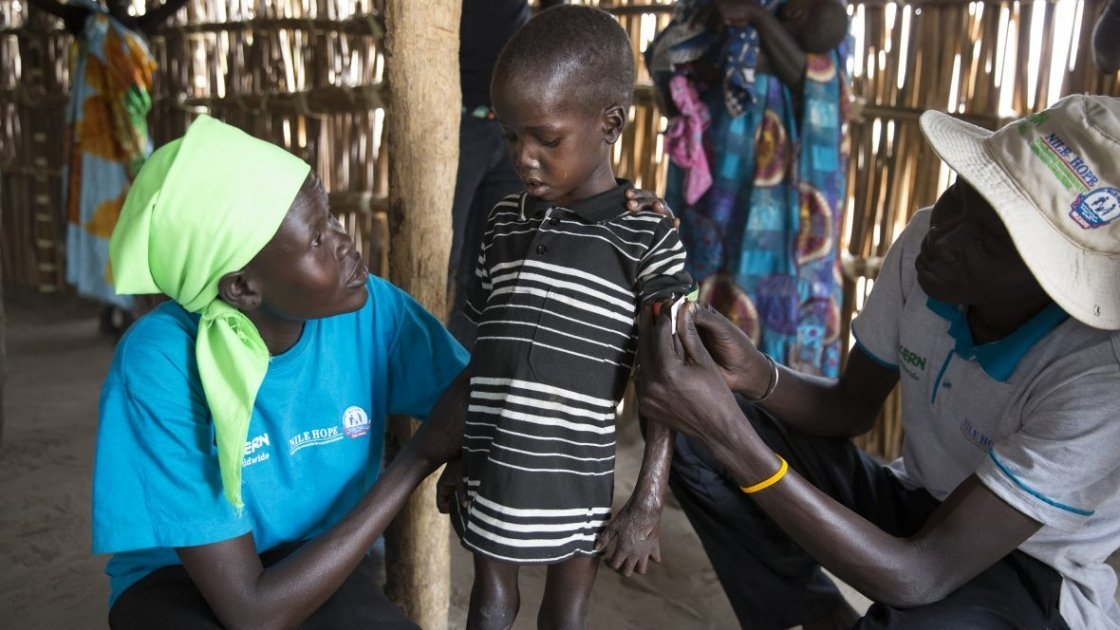 A young boy being treated for malnutrition at a mobile Concern/Nile Hope nutrition clinic in Unity State. Photo: Kieran McConville / Concern Worldwide