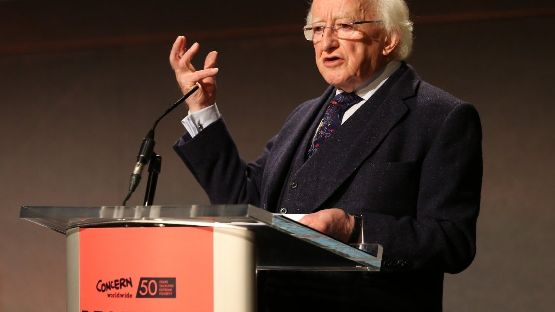 President Michael D. Higgins giving his keynote address at Concern Worldwide's Resurge2018 in Dublin Castle on 7 September 2018. Photo: Photocall Ireland.