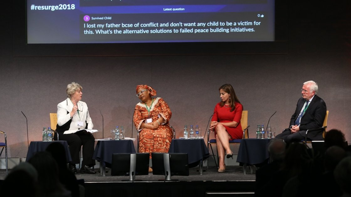 Panel for the Peacemaking and Peacebuilding discussion at Resurge2018: Former Irish Minister for Justice and Concern Board member, Nora Owen (moderator); Leymah Roberta Gbowee, Nobel Peace Laureate and President of Gbowee Peace Foundation Africa; Dr. Rim Turkmani, member of the Women's Advisory Board to the United Nations Special Envoy to Syria; and Patrick Colgan, Special Representative of the Irish Government to the Colombian Ministry for Post Conflict. Photo: Photocall Ireland.