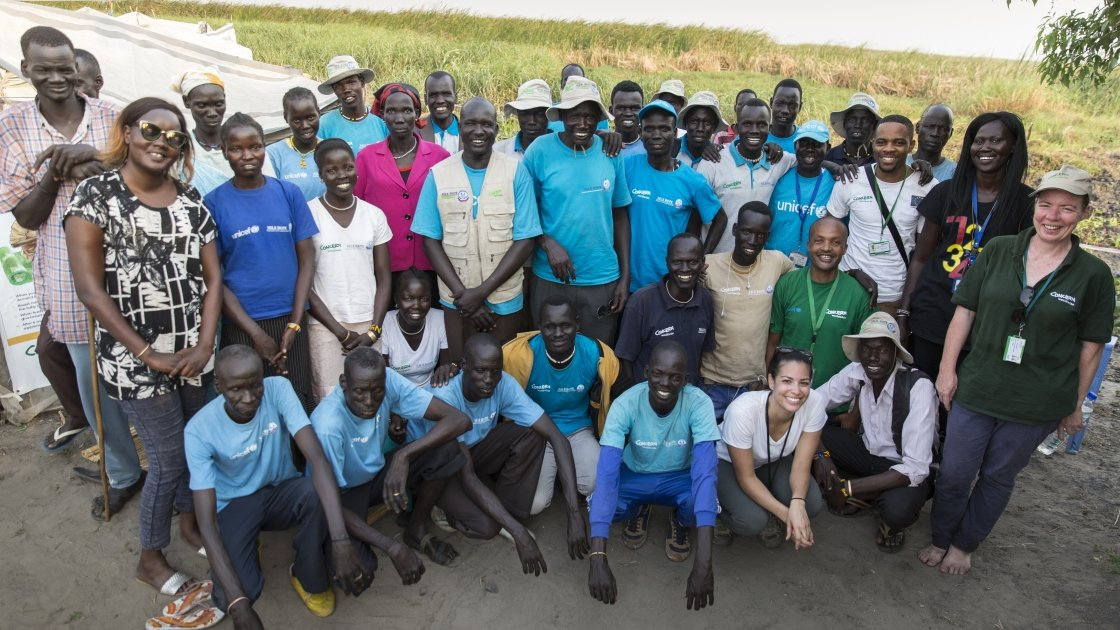 Members of the Concern and Nile Hope teams on Kok Island. Photo: Kieran McConville / Concern Worldwide