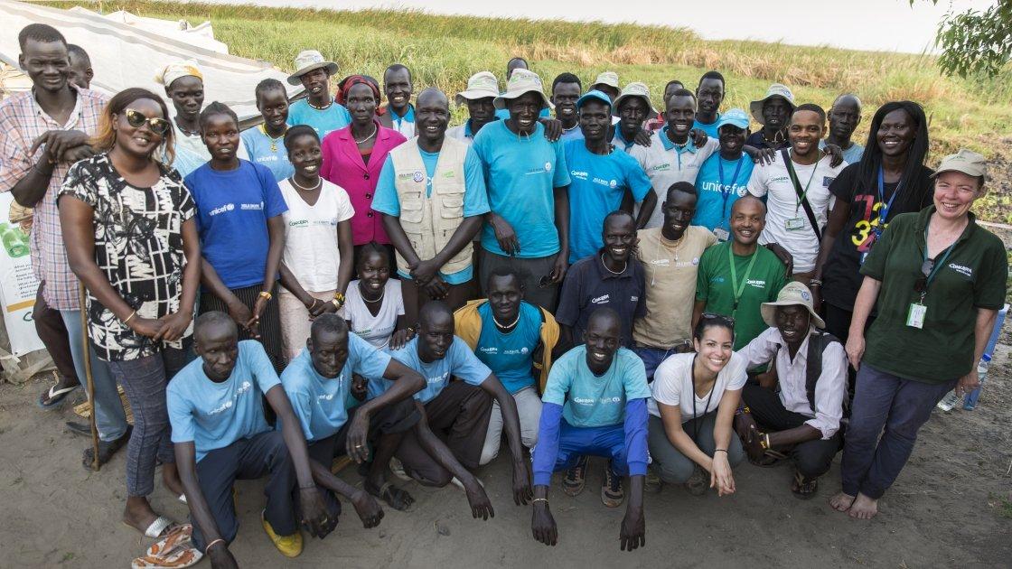 Members of the Concern and Nile Hope teams on Kok Island. Photo: Kieran McConville / Concern Worldwide