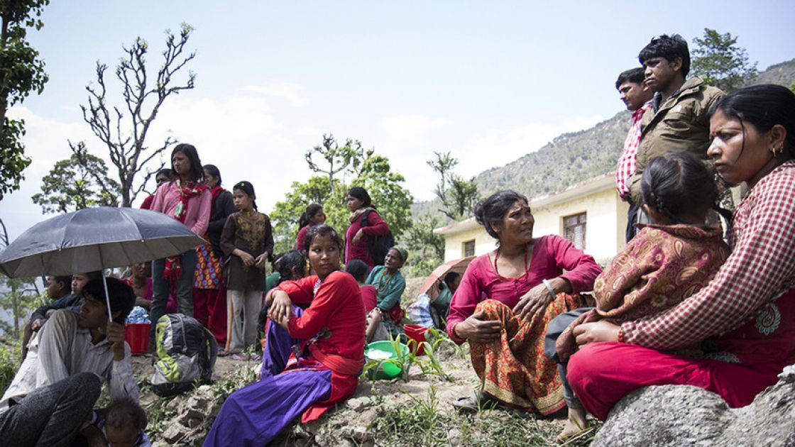 Villagers in Bhirkot Nepal, just after the second major earthquake in Nepal. Phototaken by Crystal Wells / Concern Worldwide.
