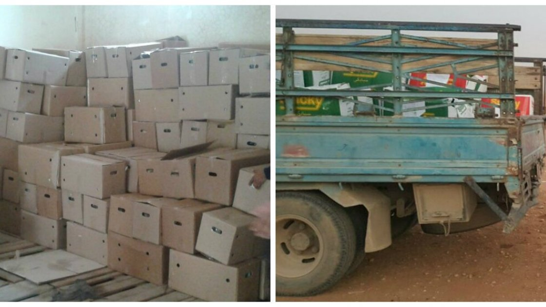 Food baskets being delivered to Syrian families by the Concern team. They contains food like bulgur wheat, rice, oil, and sugar to help ensure that families can meet their basic needs. Photo: Concern Worldwide.