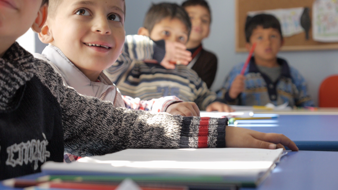 Syrian refugee children attending class. Photo: Concern Worldwide
