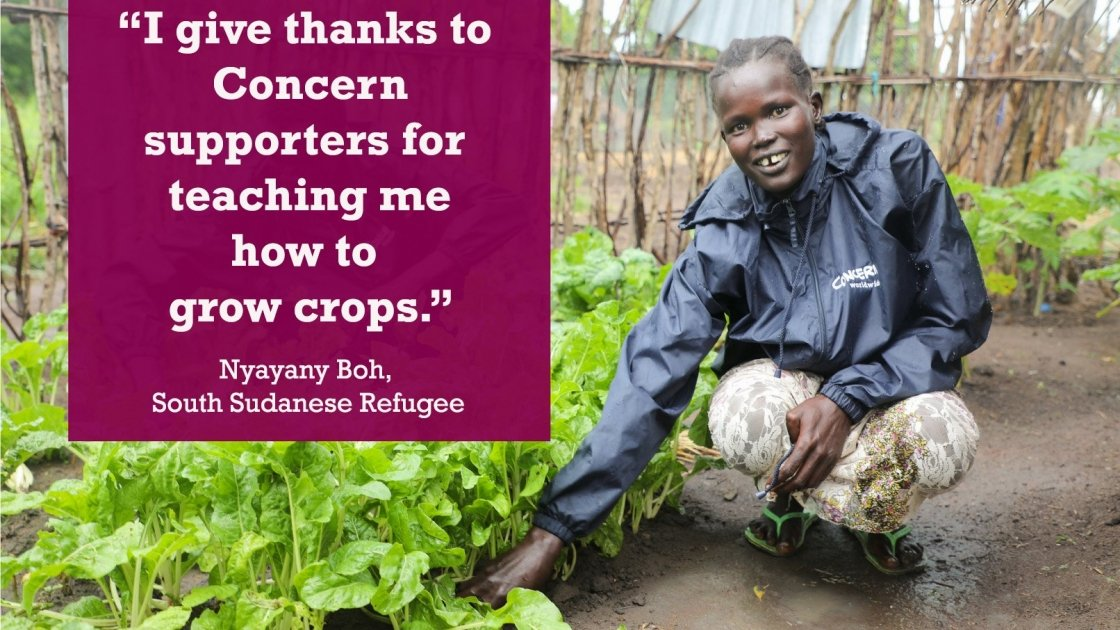 Nyayany Boh received training, seeds and tools from Concern to help her live in a more sustainable way by growing her own fruit and vegetables. Photo: Jennifer Nolan/Concern Worldwide.