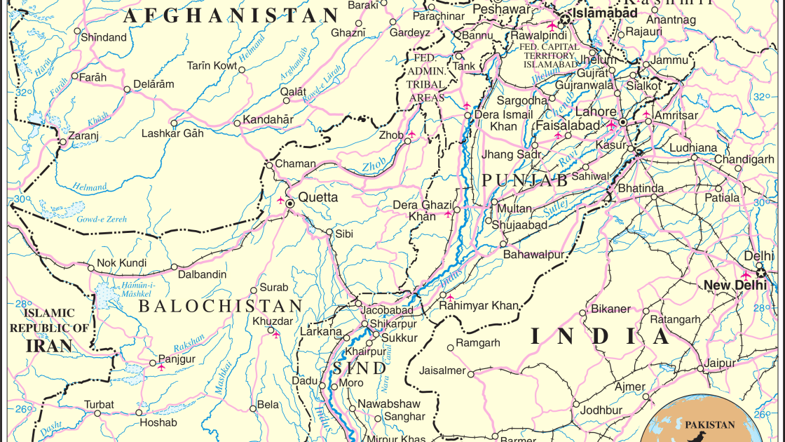 United Nations map of Pakistan and surroundings.