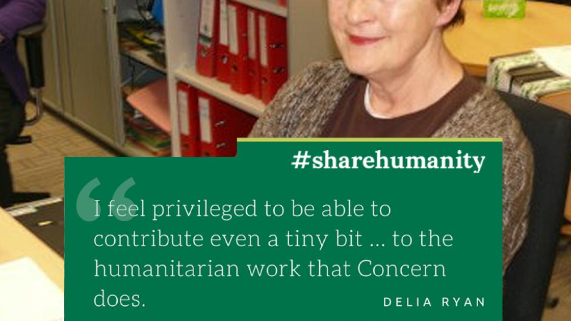 Concern volunteer Delia Ryan in Concern's Dublin office. Photograph by: Concern Worldwide.