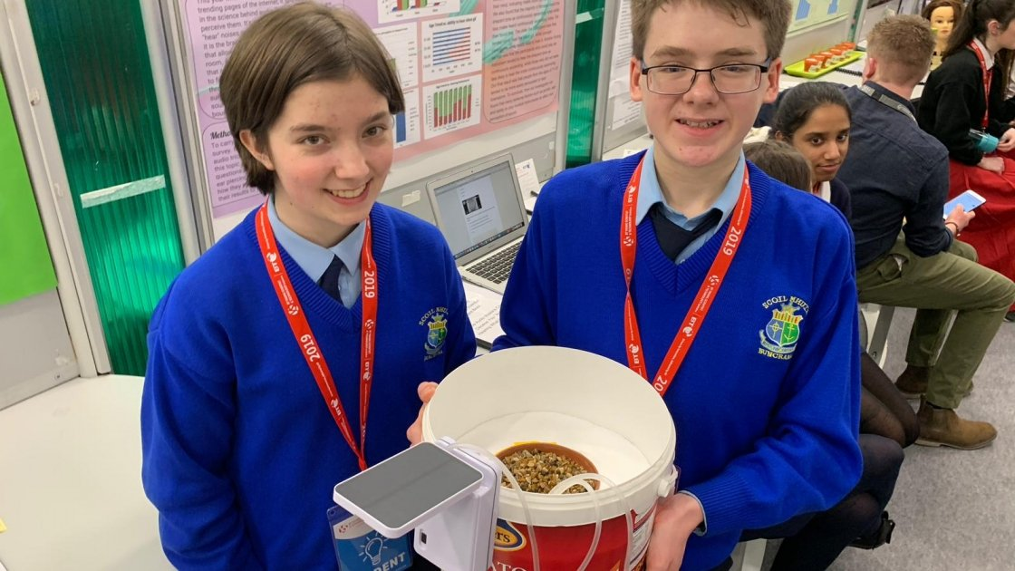 Donegal students Rory Coleman and Rachel Fletcher with their clever project. Photo: Jason Kennedy/Concern Worldwide