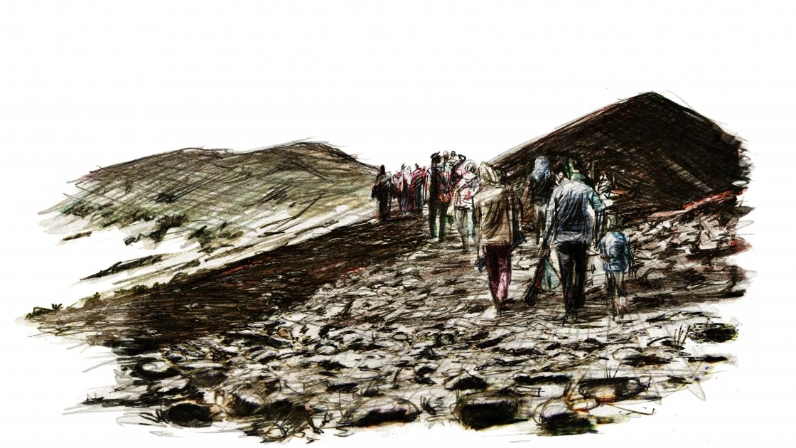 A displaced family makes their way to safety. From Six years of War, Six Shattered Lives, illustrated by Marc Corrigan for Concern Worldwide.