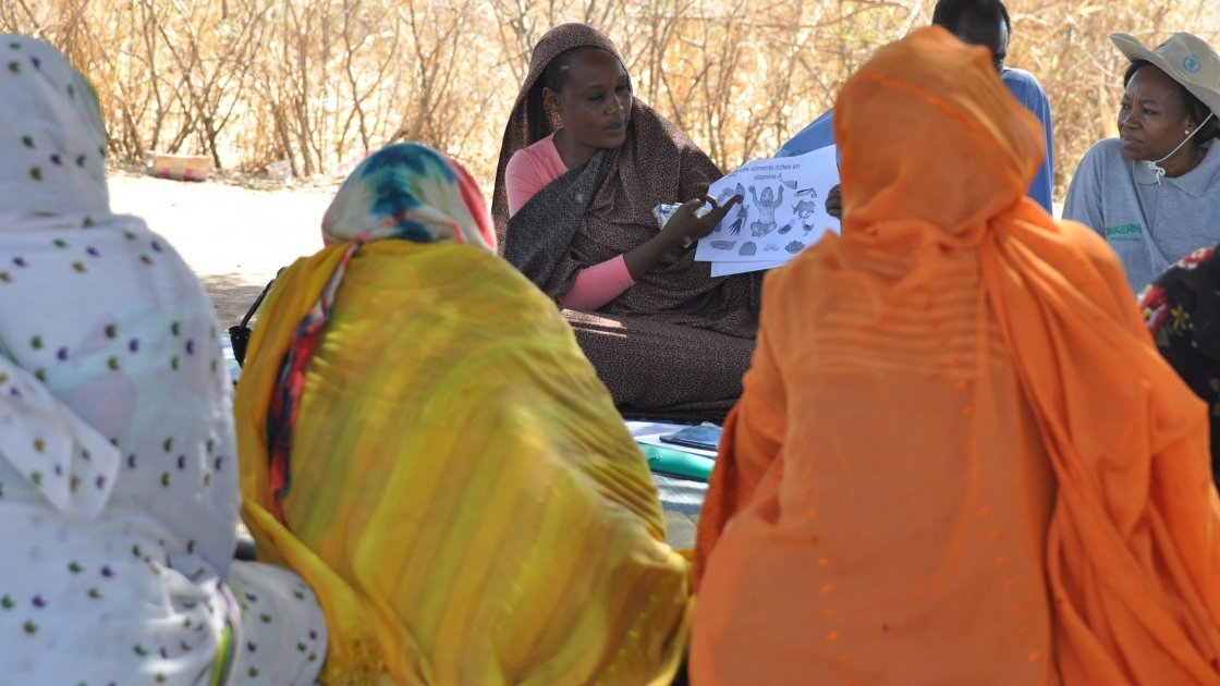Concern staff conducting infant and young child feeding training near Karo village, Dar Sila, Chad, 2014. Photo: Connell Foley / Concern Worldwide.