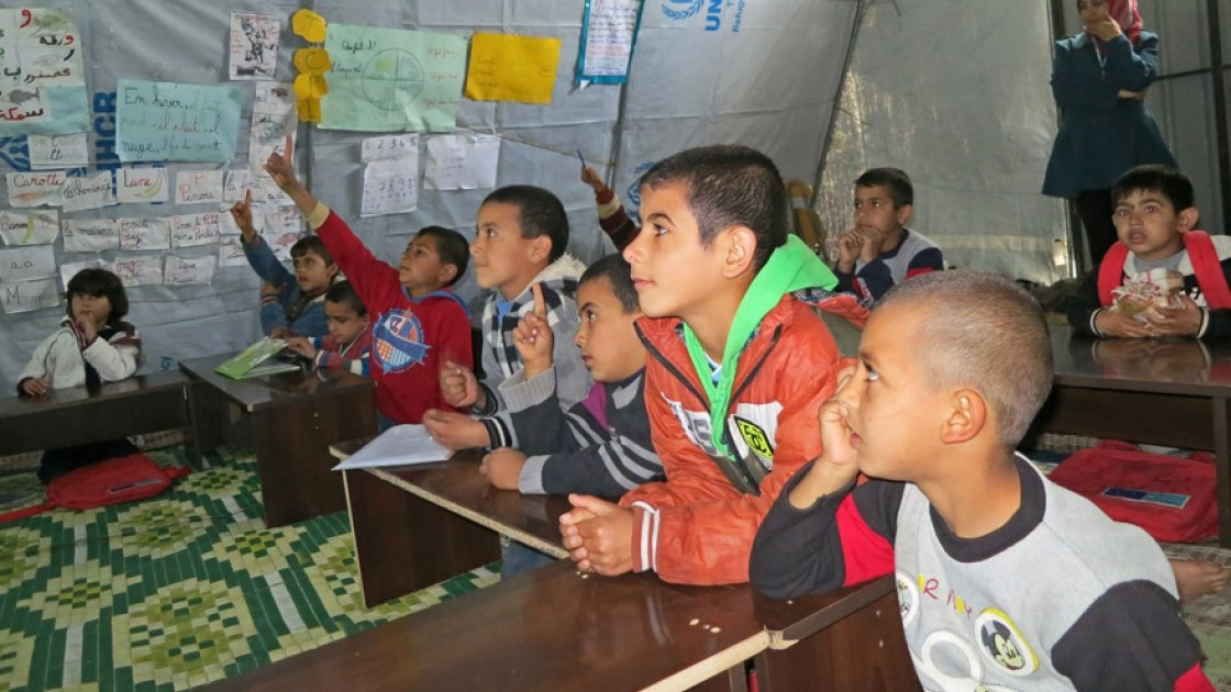 Syrian refugee children in one of Concern's makeshift tent classrooms. Photo: Concern Worldwide.