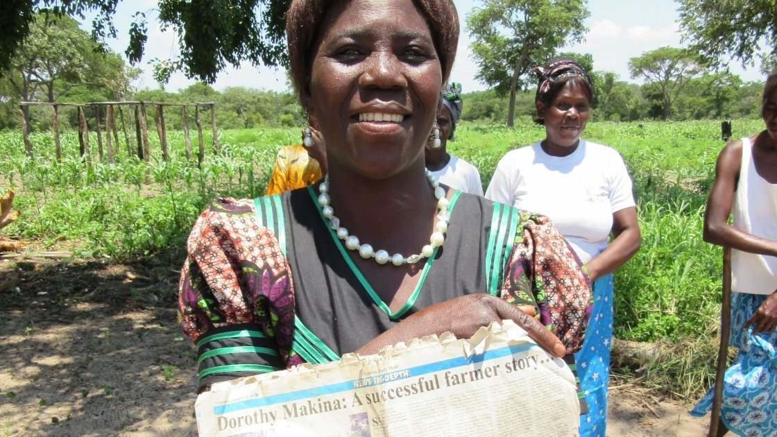 Dorris Makina is a successful farmer in Zambia trained by Concern Worldwide, who now trains other farmers in conservation agriculture. Photo taken by Concern Worldwide.