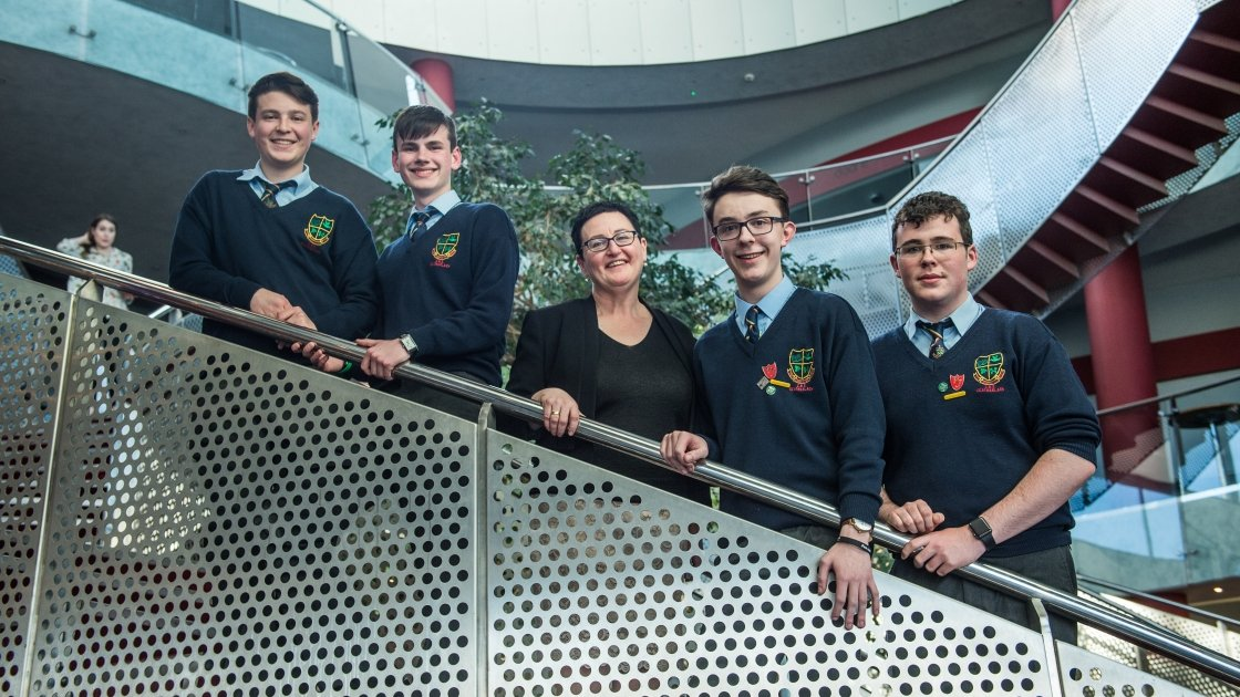 CBS Carlow team with teacher Claire O'Brien at Concern Debates final 2017 in the Helix, Dublin. Photo: Ruth Medjber/Concern Worldwide.