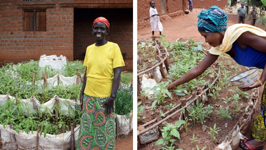 Concern-supported community health workers in Burundi are teachers mothers how to build kitchen gardens in order to promote a more diverse diet. Photo: Darren Vaughan/Concern.