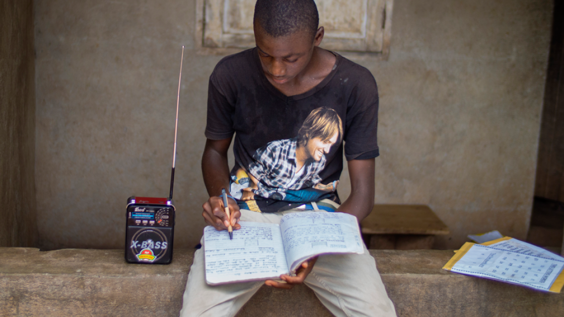 : Schools have been closed due to the Ebola outbreak leaving children like  Mada Karimu reliant on radio based education. Photo: Concern Worldwide