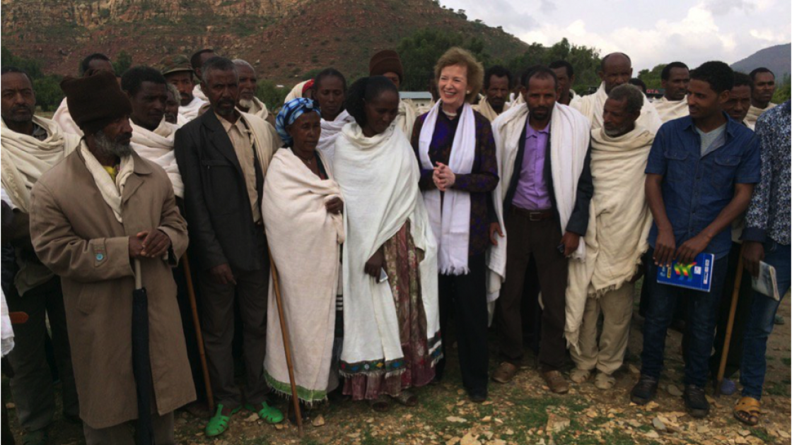 Mary Robinson on her recent visit to Ethiopia to witness, at first hand, the devastating effects on food production of the ongoing drought there. Photo: Concern Worldwide.
