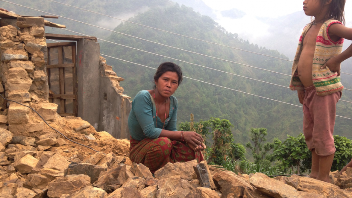 Kanchi Maya Wiava who is working with neighbours to clear the rubble from her home. Photo taken by Concern Worldwide.