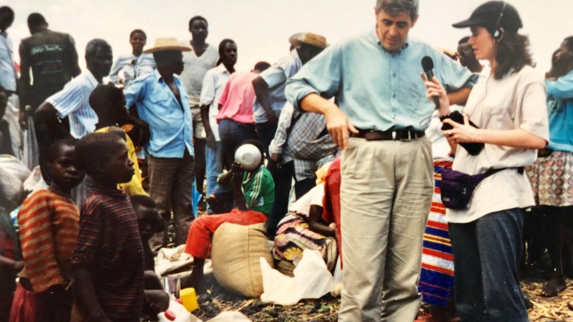 Patricia O'Hallahan interviewing Dominic MacSorley who headed up Concern's emergency response in the wake of the Rwandan genocide. Photo: Concern Worldwide.