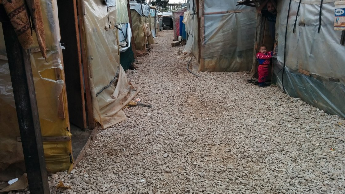 Inside an informal tented settlement supported by Concern in Lebanon. Photo: Kevin Jenkinson/Concern Worldwide.