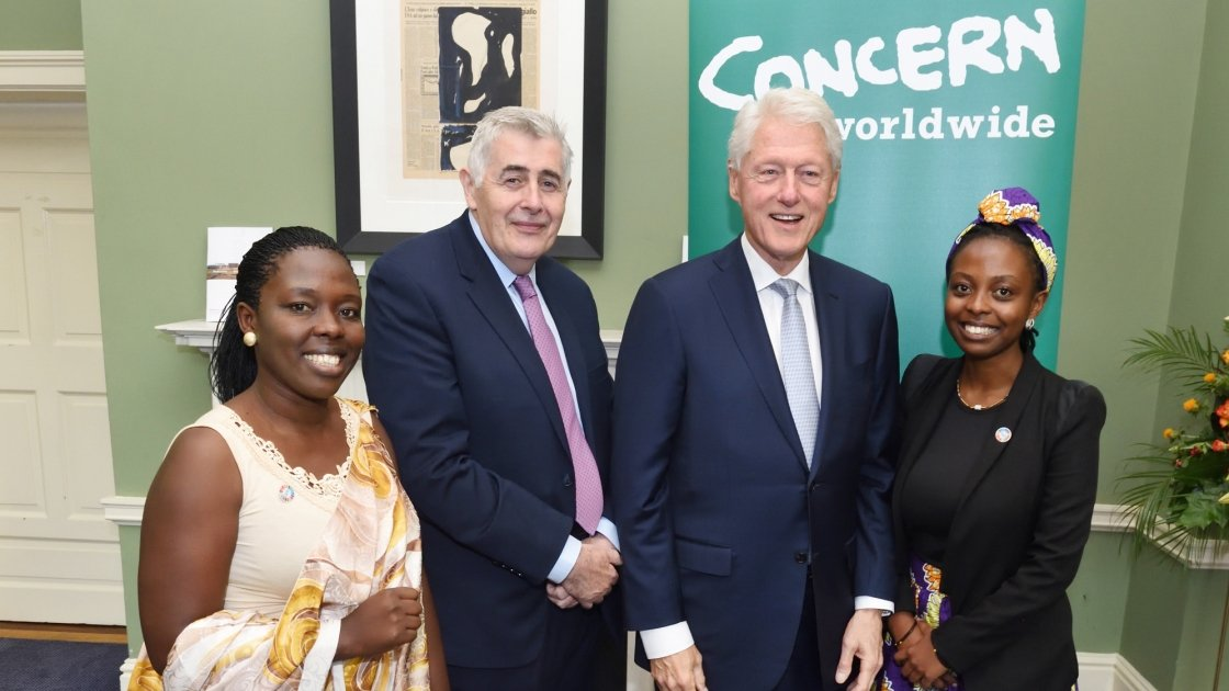 Left to Right: Marie-Ange Beriman, Concern CEO Dominic MacSorley, President Bill Clinton, Concern's Youth Ambassador Aline Joyce Berabose (daughter of Marie-Ange) at Concern's 50th Anniversary Conference at Dublin Castle