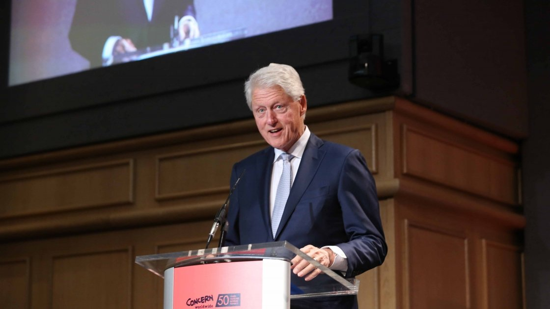 The 42nd President of the United States of America, Bill Clinton, speaking at Concern Worldwide's 50th Anniversary Conference, Resurgence of Humanity: Breaking the Cycle of Conflict, Hunger and Human Suffering, at Dublin Castle on September 7, 2018