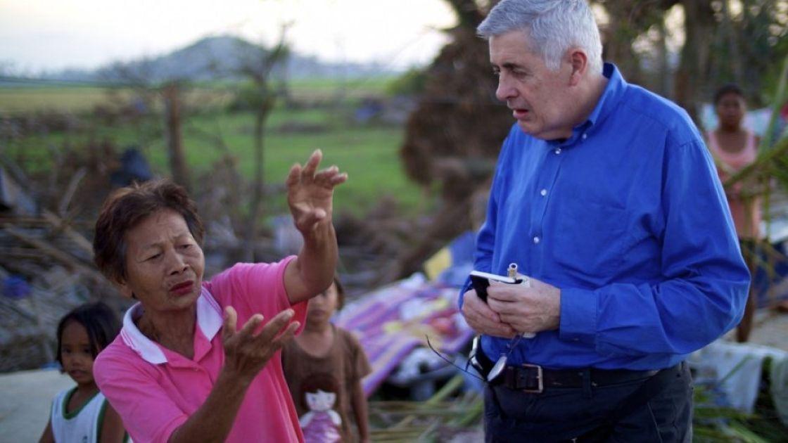 Concern Worldwide CEO Dominic MacSorley meets Pacita Antonnano, 71, whose home was blown away by Typhoon Haiyan. Credit: Kieran McConville/Concern Worldwide.